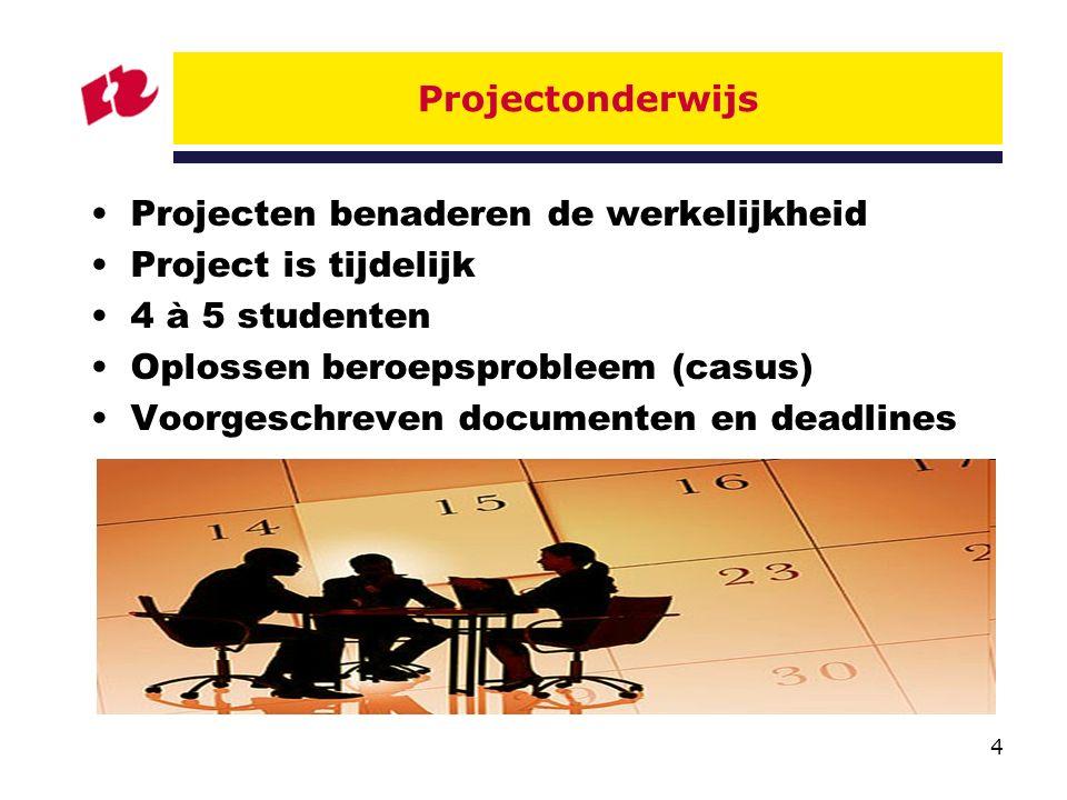 4 Projectonderwijs Projecten benaderen de werkelijkheid Project is tijdelijk 4 à 5 studenten Oplossen beroepsprobleem (casus) Voorgeschreven documenten en deadlines