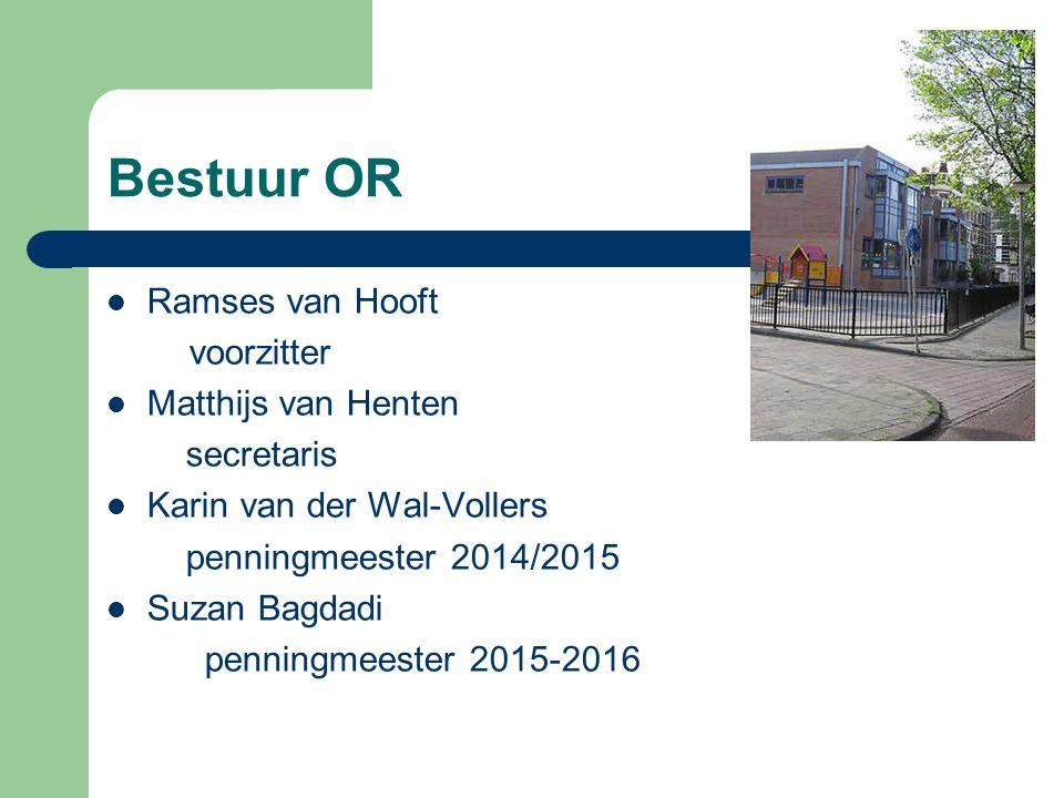 Bestuur OR Ramses van Hooft voorzitter Matthijs van Henten secretaris Karin van der Wal-Vollers penningmeester 2014/2015 Suzan Bagdadi penningmeester 2015-2016