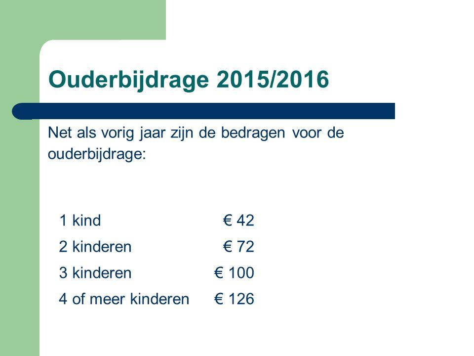 Ouderbijdrage 2015/2016 Net als vorig jaar zijn de bedragen voor de ouderbijdrage: 1 kind€ 42 2 kinderen€ 72 3 kinderen € 100 4 of meer kinderen€ 126