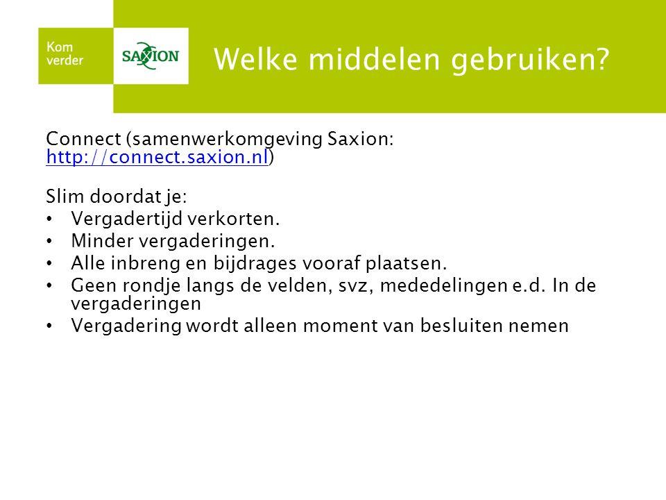 Welke middelen gebruiken? Connect (samenwerkomgeving Saxion: http://connect.saxion.nl) http://connect.saxion.nl Slim doordat je: Vergadertijd verkorte