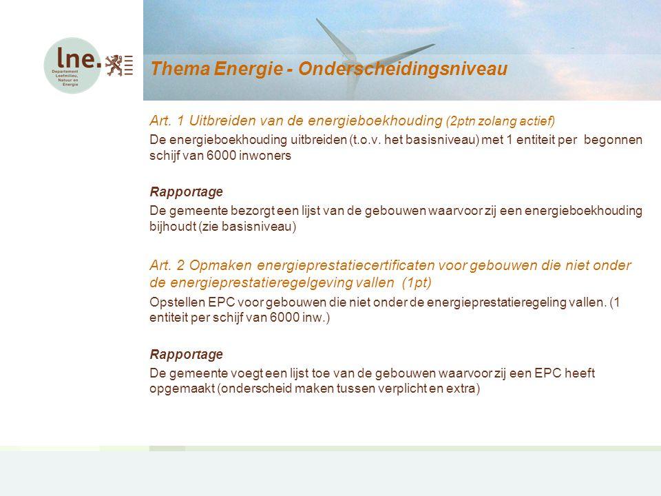 Thema Energie – Projectaanvragen (2) 2° Hernieuwbare energie De gemeente realiseert een hernieuwbare energie-installatie.