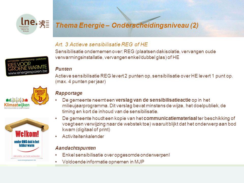 Thema Hinder – Projectaanvragen (2) Specifieke handhavingscampagnes Aankoop geluidsmeter (bv.