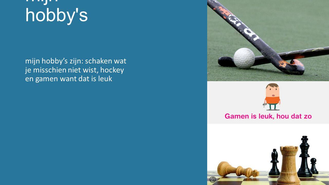 mijn hobby s mijn hobby's zijn: schaken wat je misschien niet wist, hockey en gamen want dat is leuk