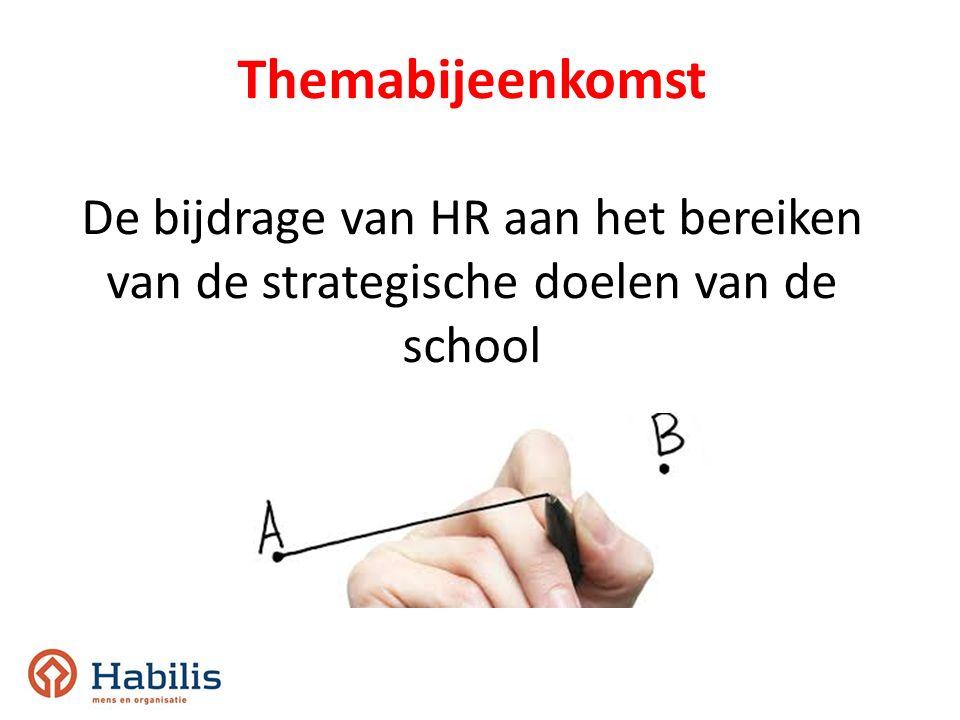 Themabijeenkomst De bijdrage van HR aan het bereiken van de strategische doelen van de school