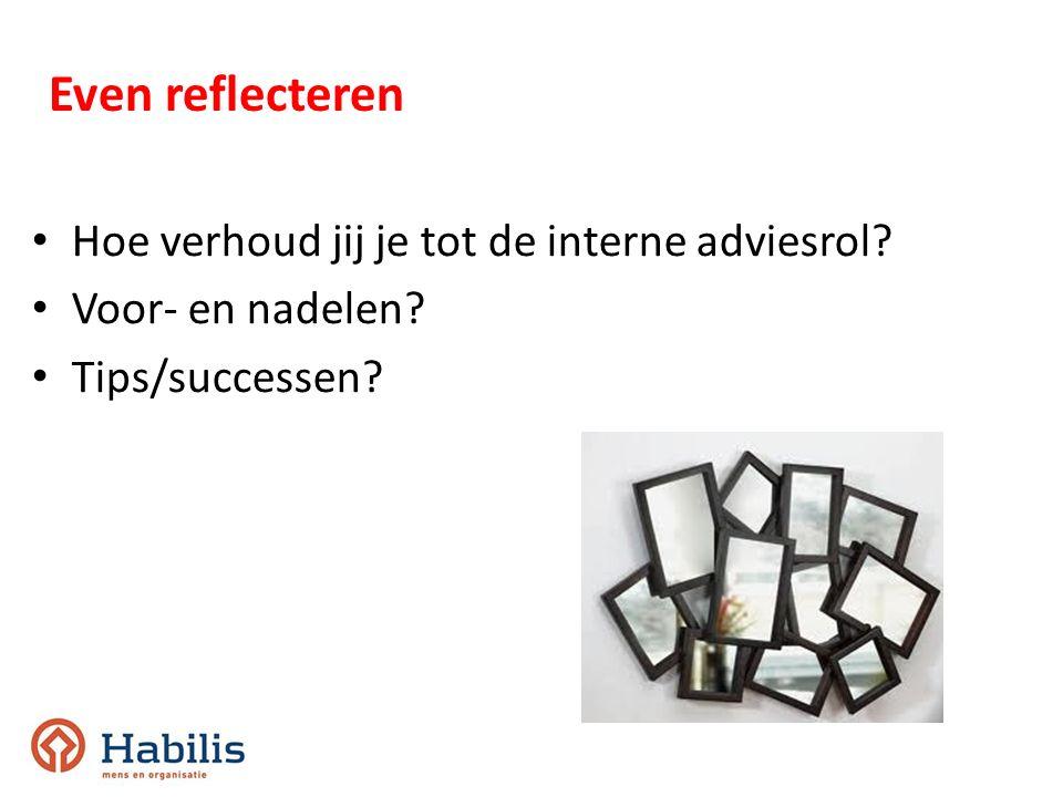 Hoe verhoud jij je tot de interne adviesrol? Voor- en nadelen? Tips/successen? Even reflecteren