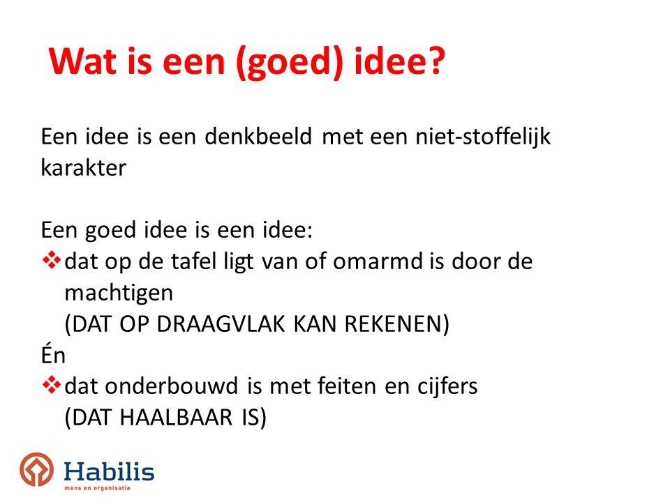 Wat is een (goed) idee? Een idee is een denkbeeld met een niet-stoffelijk karakter Een goed idee is een idee:  dat op de tafel ligt van of omarmd is