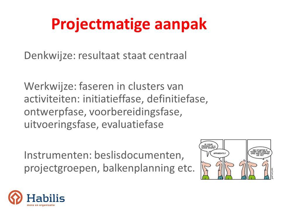 Projectmatige aanpak Denkwijze: resultaat staat centraal Werkwijze: faseren in clusters van activiteiten: initiatieffase, definitiefase, ontwerpfase,