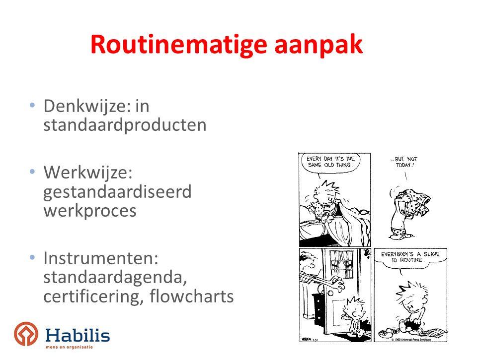 Routinematige aanpak Denkwijze: in standaardproducten Werkwijze: gestandaardiseerd werkproces Instrumenten: standaardagenda, certificering, flowcharts