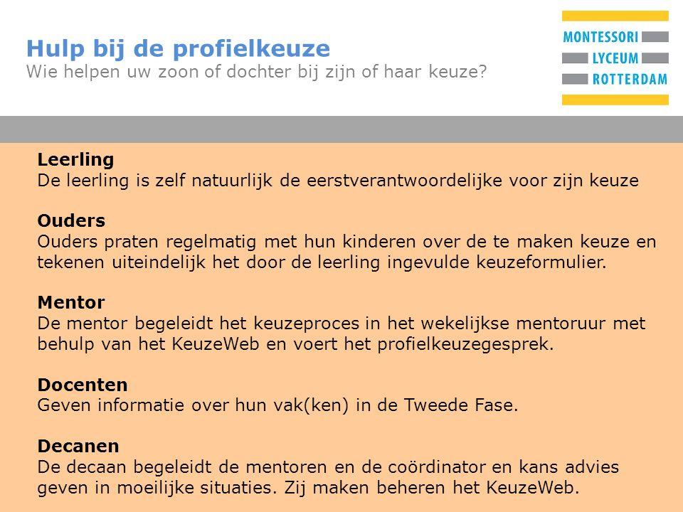 T De profielen Wat zijn de mogelijkheden Gemeenschappelijk deel (GD)35% Nederlands, Engels, Lichamelijke opvoeding, Culturele en Kunstzinnige Vorming (H4), Maatschappijleer (H5), en het profielwerkstuk (H5) Profieldeel (PD)45% Keuze uit: CMCultuur & Maatschappij EMEconomie & Maatschappij NGNatuur & Gezondheid NTNatuur & Techniek Vrije deel (VD)20% Één vak uit de nog niet gekozen vakken, met een paar beperkingen in mogelijke combinaties en een aantal verplichte niet-examenonderdelen.