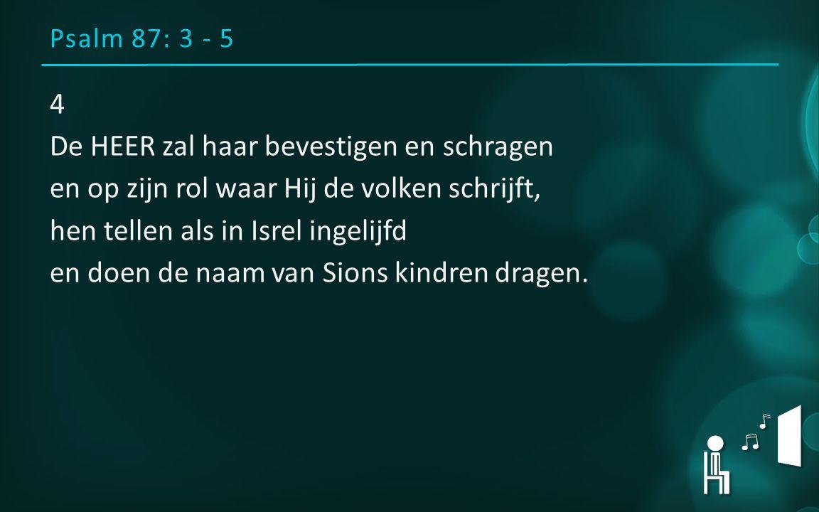 Psalm 87: 3 - 5 4 De HEER zal haar bevestigen en schragen en op zijn rol waar Hij de volken schrijft, hen tellen als in Isrel ingelijfd en doen de naa