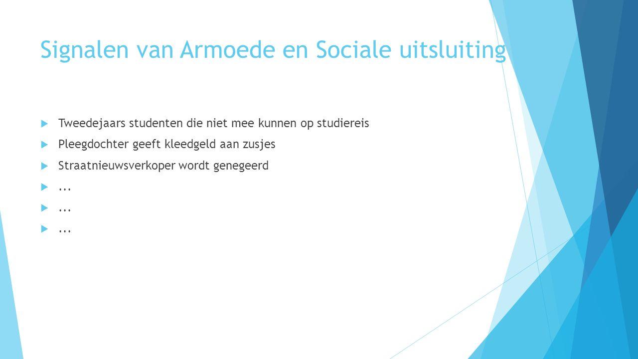 Signalen van Armoede en Sociale uitsluiting  Tweedejaars studenten die niet mee kunnen op studiereis  Pleegdochter geeft kleedgeld aan zusjes  Straatnieuwsverkoper wordt genegeerd ...