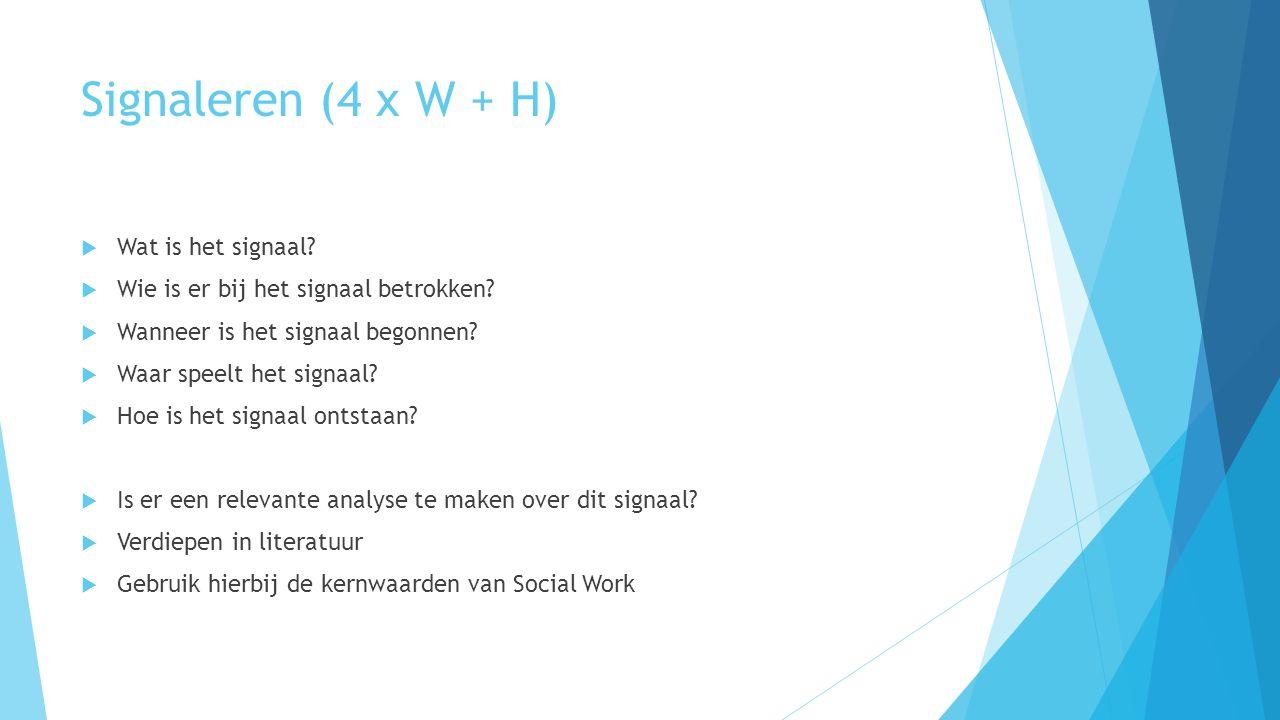 Signaleren (4 x W + H)  Wat is het signaal.  Wie is er bij het signaal betrokken.