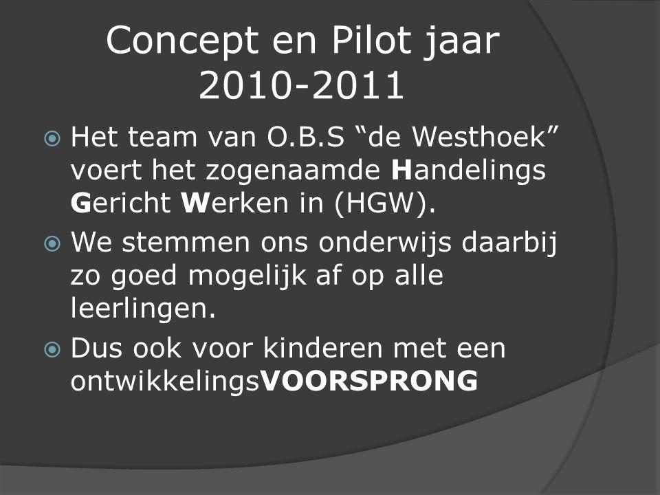 Concept en Pilot jaar 2010-2011  Het team van O.B.S de Westhoek voert het zogenaamde Handelings Gericht Werken in (HGW).