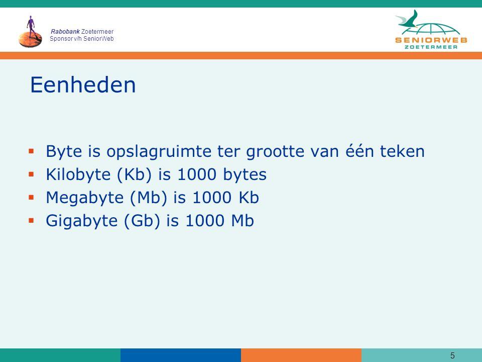 Rabobank Zoetermeer Sponsor v/h SeniorWeb Eenheden  Byte is opslagruimte ter grootte van één teken  Kilobyte (Kb) is 1000 bytes  Megabyte (Mb) is 1