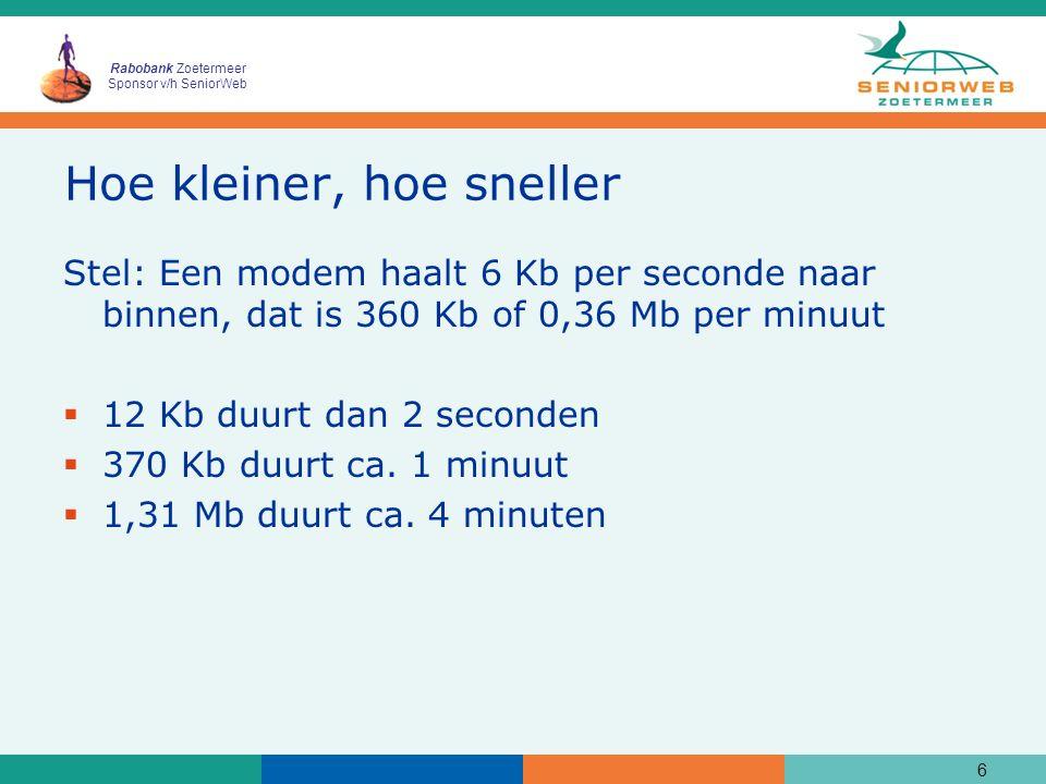 Rabobank Zoetermeer Sponsor v/h SeniorWeb Hoe kleiner, hoe sneller Stel: Een modem haalt 6 Kb per seconde naar binnen, dat is 360 Kb of 0,36 Mb per mi