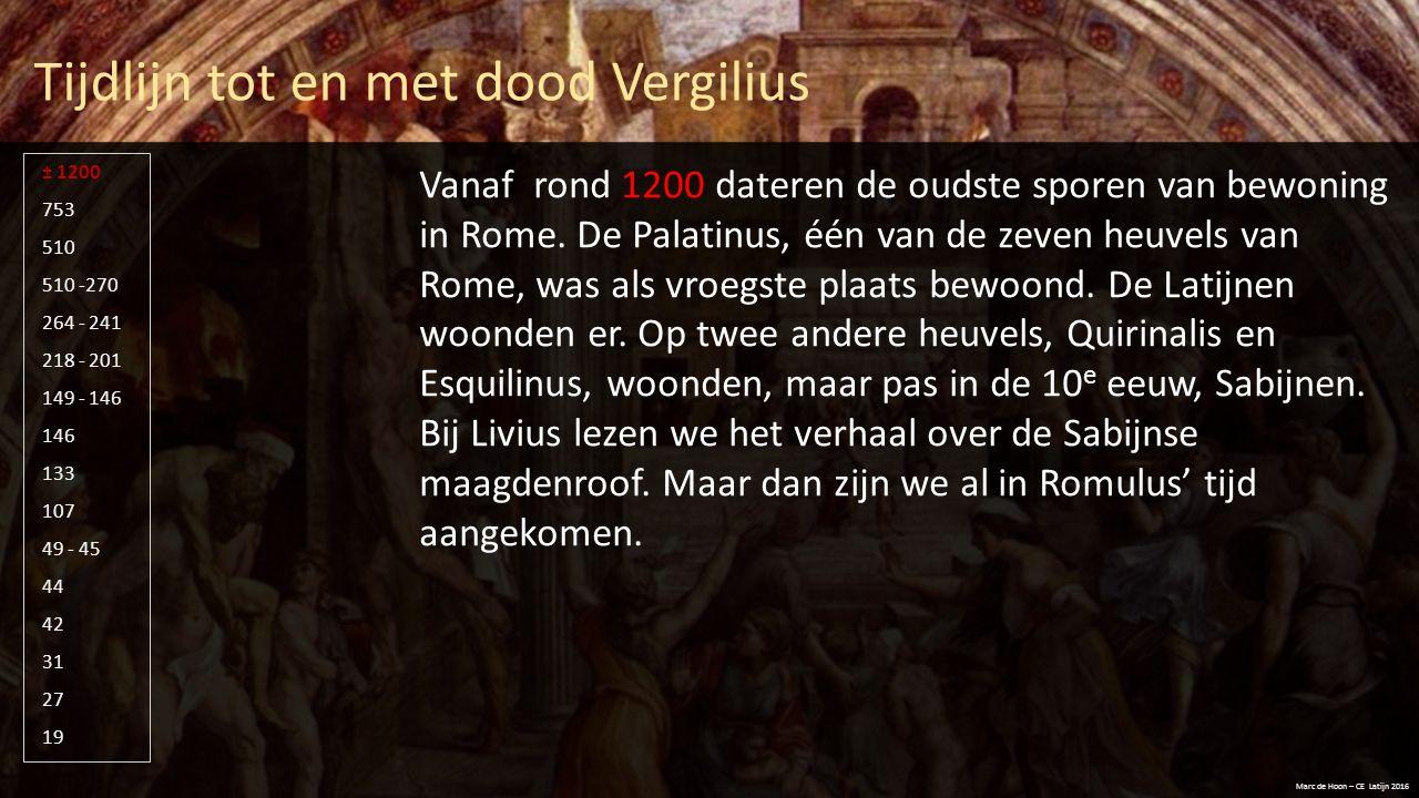 Tijdlijn tot en met dood Vergilius Marc de Hoon – CE Latijn 2016 510 -270 264 - 241 218 - 201 149 - 146 146 133 107 49 - 45 44 42 31 27 19 753 510 ± 1200 In 753 stichten Romulus en Remus Rome.