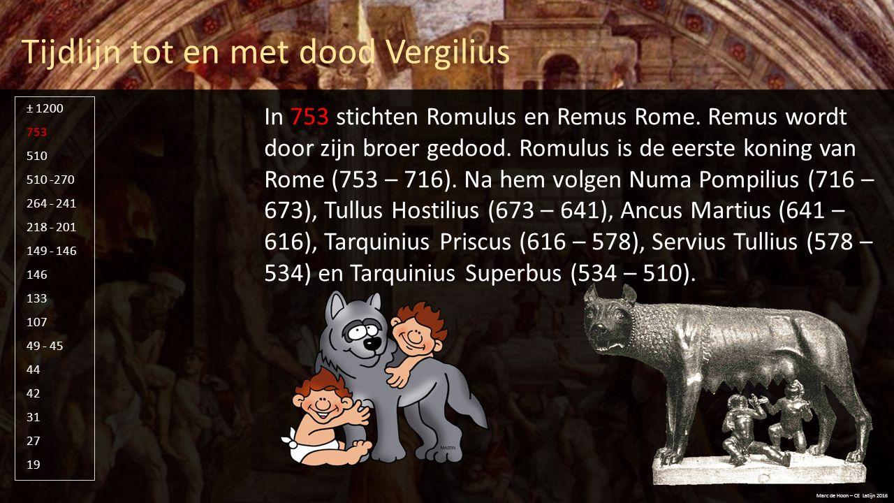 Tijdlijn tot en met dood Vergilius Marc de Hoon – CE Latijn 2016 510 -270 264 - 241 218 - 201 149 - 146 146 133 107 49 - 45 44 42 31 27 19 753 510 ± 1200 In 510 (509 volgens sommige bronnen) wordt de laatste koning, Tarquinius Superbus, verjaagd.