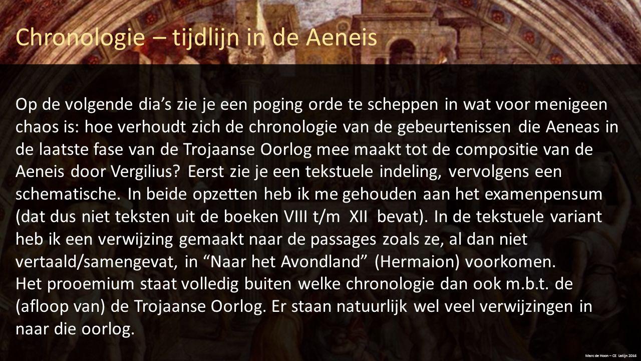 Chronologie – tijdlijn in de Aeneis Marc de Hoon – CE Latijn 2016 Op de volgende dia's zie je een poging orde te scheppen in wat voor menigeen chaos i