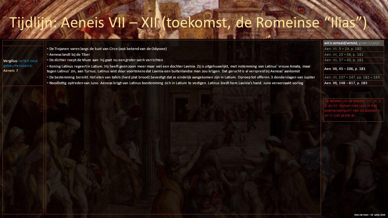 """Tijdlijn: Aeneis VII – XII (toekomst, de Romeinse """"Ilias"""") Marc de Hoon – CE Latijn 2016 Vergilius vertelt deze gebeurtenissen in Aeneis 7 ◦ De Trojan"""