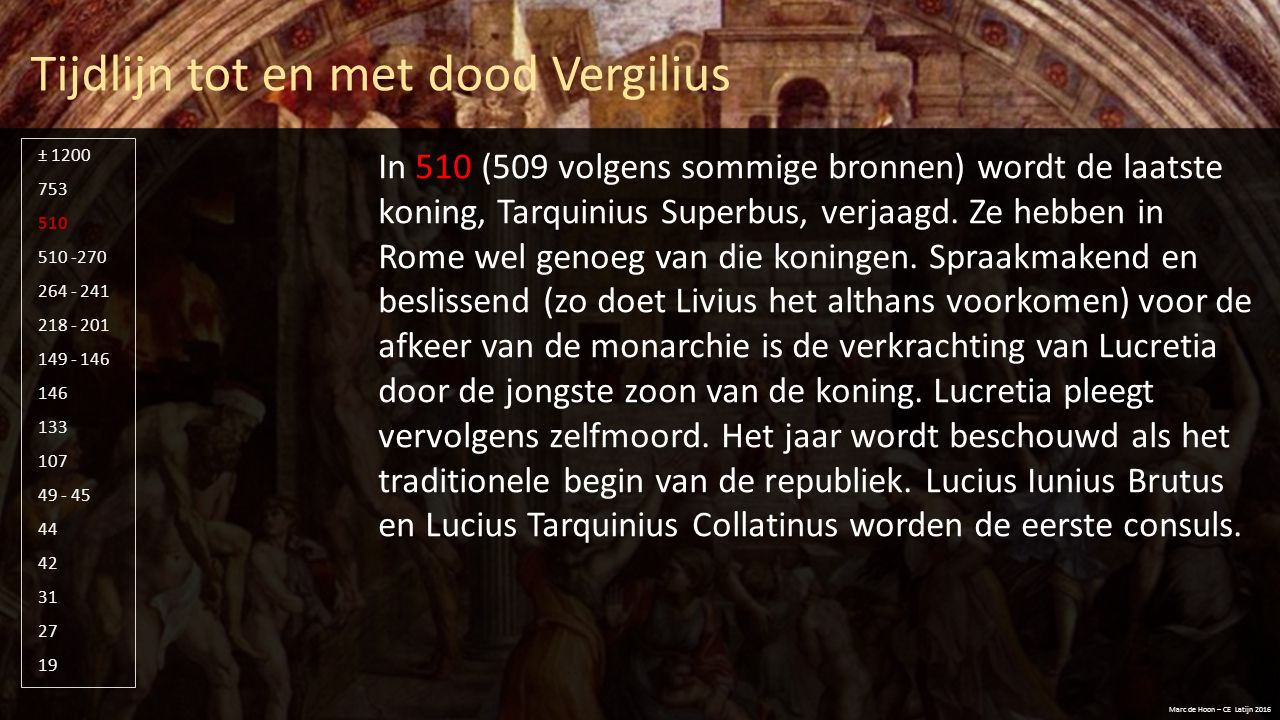 Tijdlijn tot en met dood Vergilius Marc de Hoon – CE Latijn 2016 510 -270 264 - 241 218 - 201 149 - 146 146 133 107 49 - 45 44 42 31 27 19 753 510 ± 1200 Van 510 – 290/270 vond grote expansie plaats van het Romeinse rijk, maar dat was vooralsnog binnen Italië.