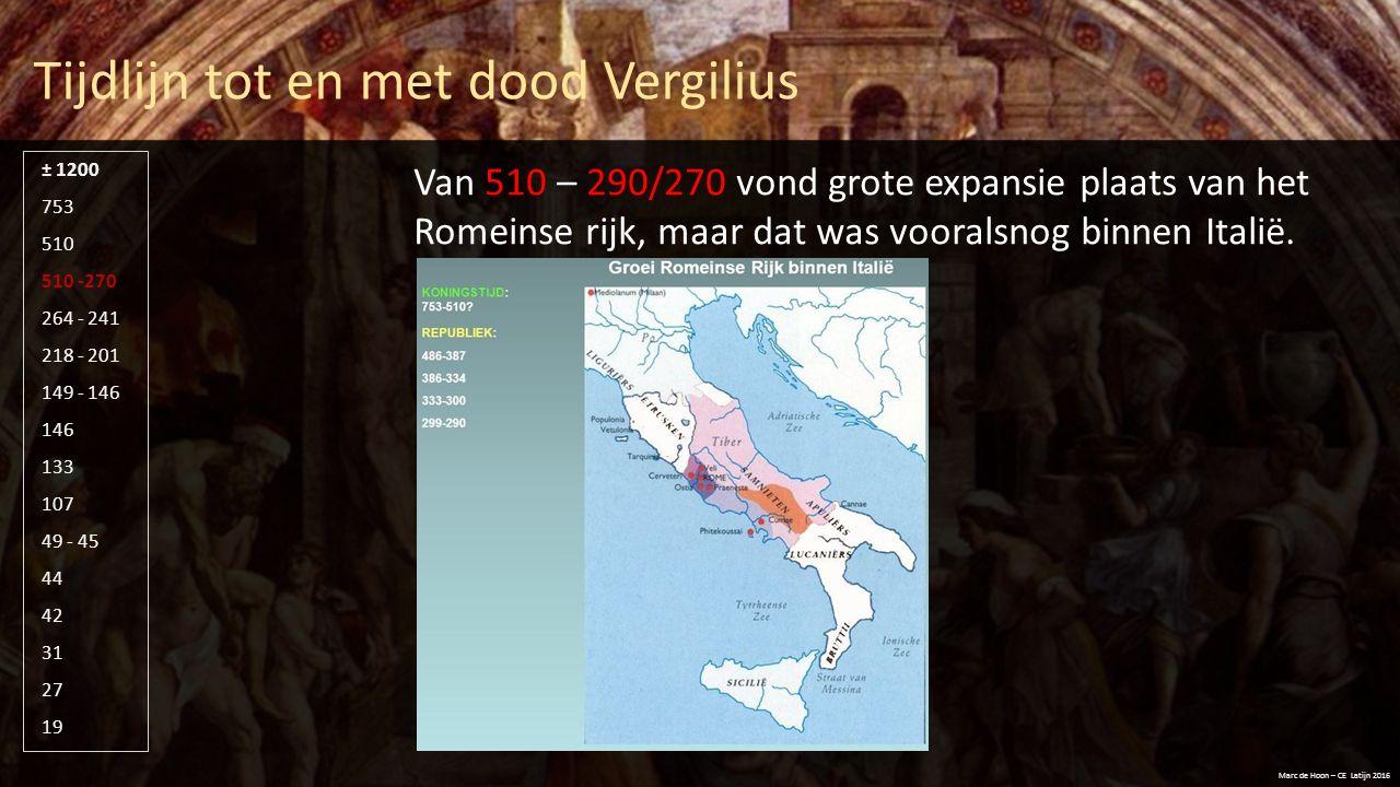 Tijdlijn tot en met dood Vergilius Marc de Hoon – CE Latijn 2016 510 -270 264 - 241 218 - 201 149 - 146 146 133 107 49 - 45 44 42 31 27 19 753 510 ± 1200 In 264 begon de eerste Punische oorlog tussen Carthago (de Puniërs) en Rome.