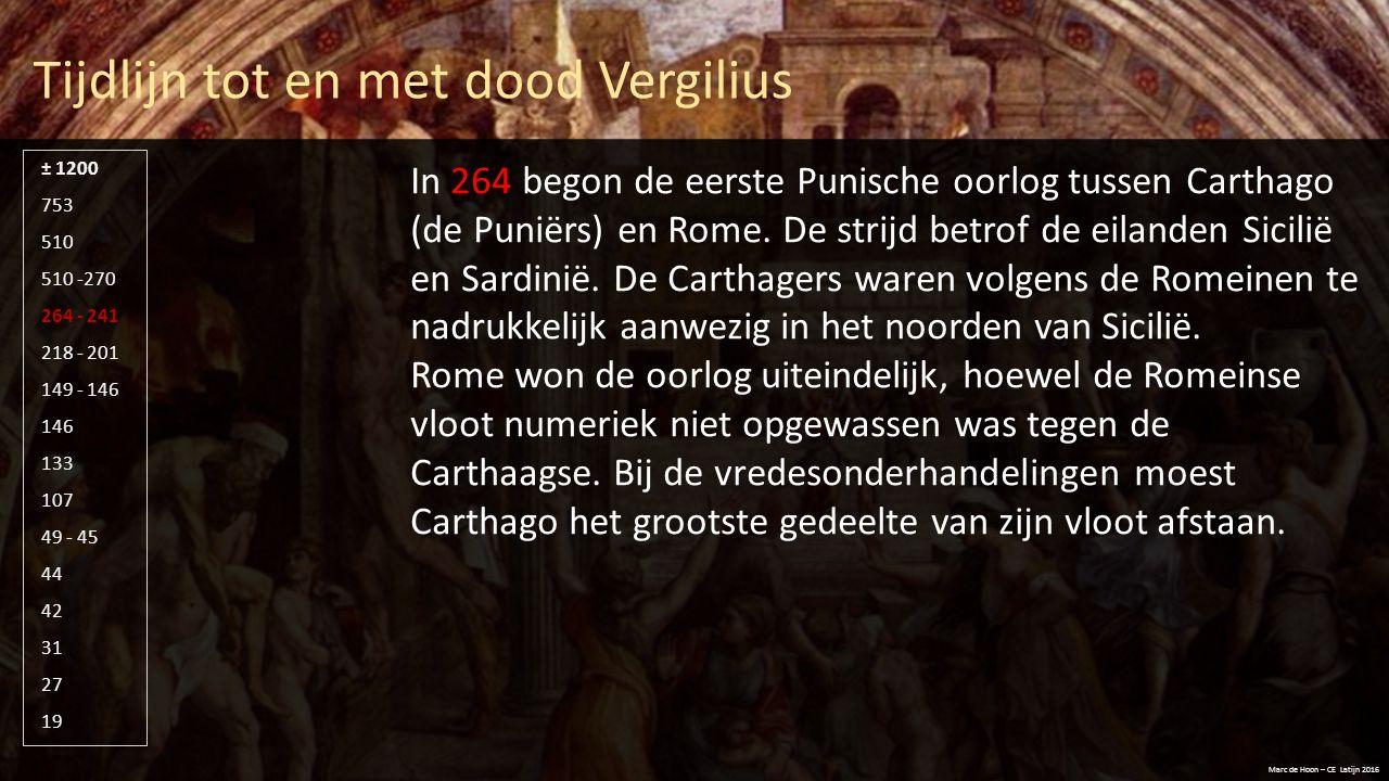 Tijdlijn tot en met dood Vergilius Marc de Hoon – CE Latijn 2016 510 -270 264 - 241 218 - 201 149 - 146 146 133 107 49 - 45 44 42 31 27 19 753 510 ± 1200 In 19 sterft Vergilius onverwacht in Brindisi.