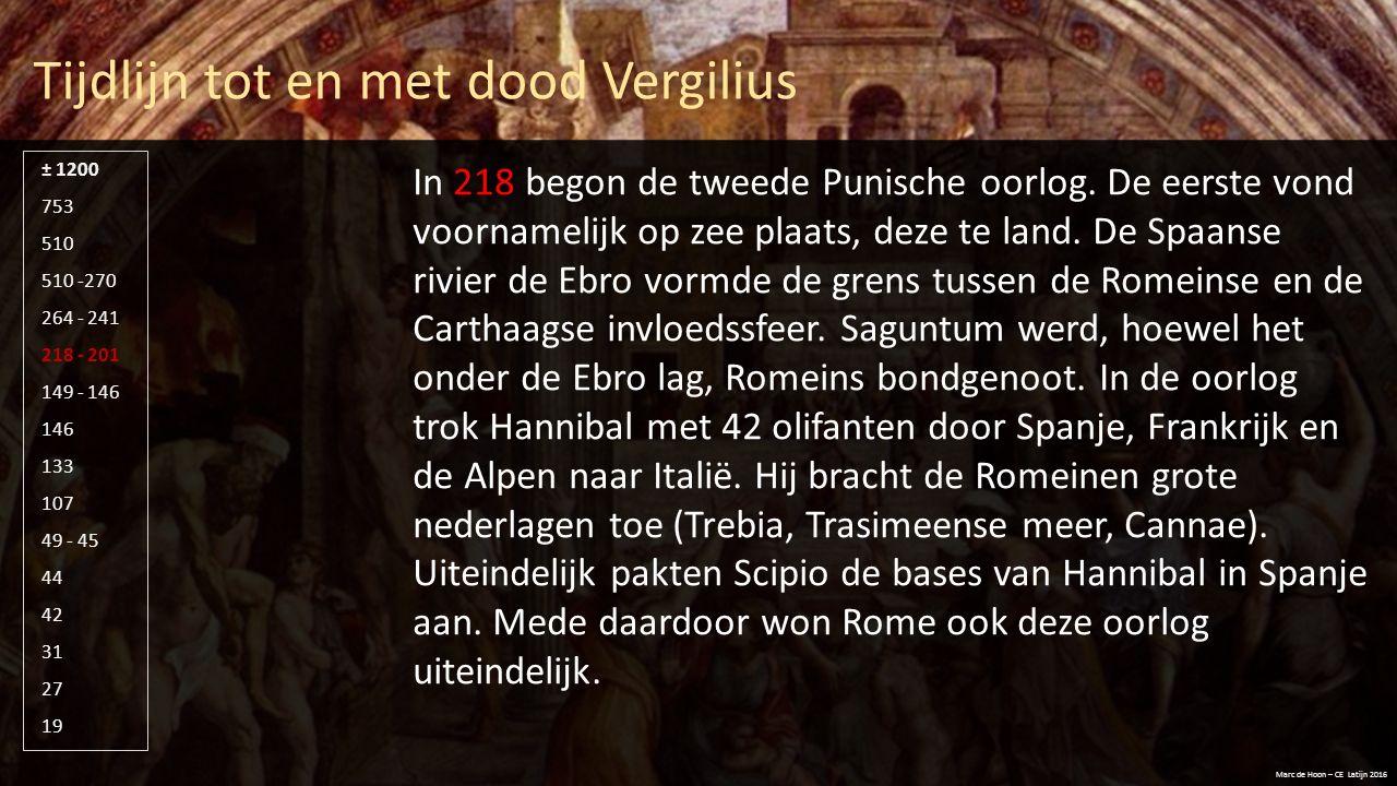 Tijdlijn tot en met dood Vergilius Marc de Hoon – CE Latijn 2016 510 -270 264 - 241 218 - 201 149 - 146 146 133 107 49 - 45 44 42 31 27 19 753 510 ± 1200 In 149 begon dan de derde Punische oorlog.
