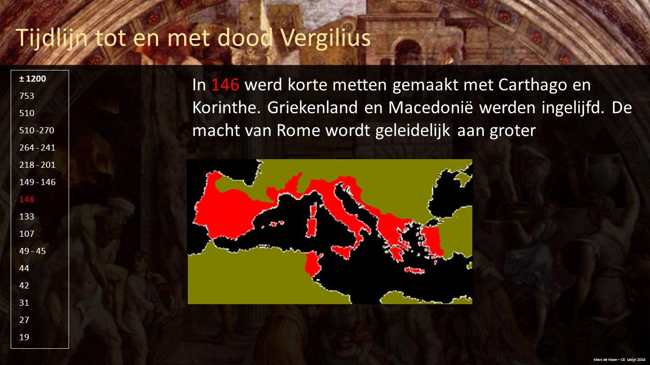 Chronologie – tijdlijn in de Aeneis Marc de Hoon – CE Latijn 2016 Op de volgende dia's zie je een poging orde te scheppen in wat voor menigeen chaos is: hoe verhoudt zich de chronologie van de gebeurtenissen die Aeneas in de laatste fase van de Trojaanse Oorlog mee maakt tot de compositie van de Aeneis door Vergilius.