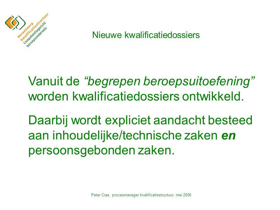 Peter Cras, procesmanager kwalificatiestructuur, mei 2006 Nieuwe kwalificatiedossiers Vanuit de begrepen beroepsuitoefening worden kwalificatiedossiers ontwikkeld.