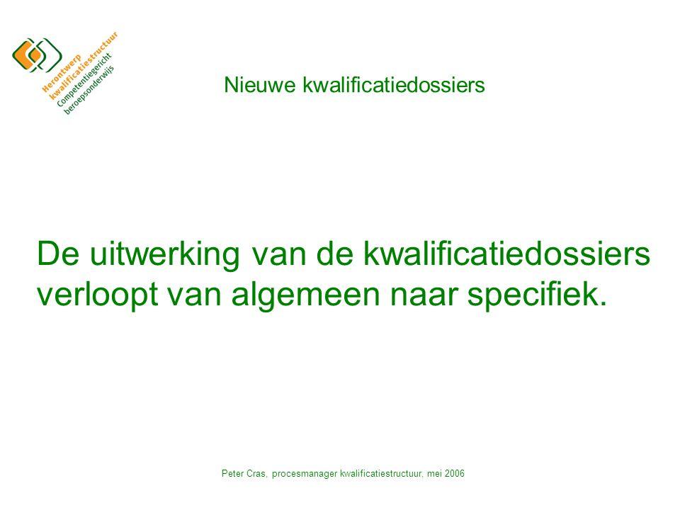 Peter Cras, procesmanager kwalificatiestructuur, mei 2006 Nieuwe kwalificatiedossiers De uitwerking van de kwalificatiedossiers verloopt van algemeen naar specifiek.