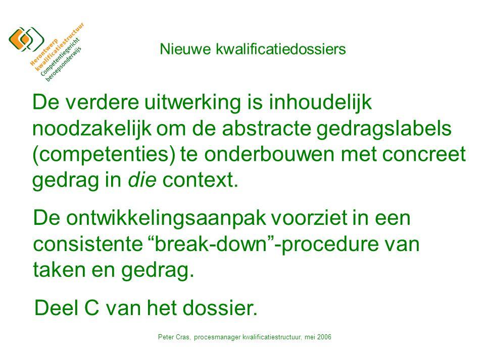 Peter Cras, procesmanager kwalificatiestructuur, mei 2006 De verdere uitwerking is inhoudelijk noodzakelijk om de abstracte gedragslabels (competenties) te onderbouwen met concreet gedrag in die context.