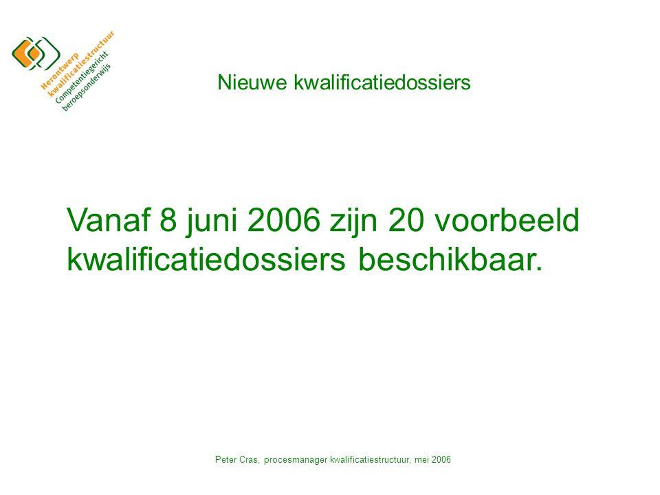 Peter Cras, procesmanager kwalificatiestructuur, mei 2006 Nieuwe kwalificatiedossiers Vanaf 8 juni 2006 zijn 20 voorbeeld kwalificatiedossiers beschikbaar.