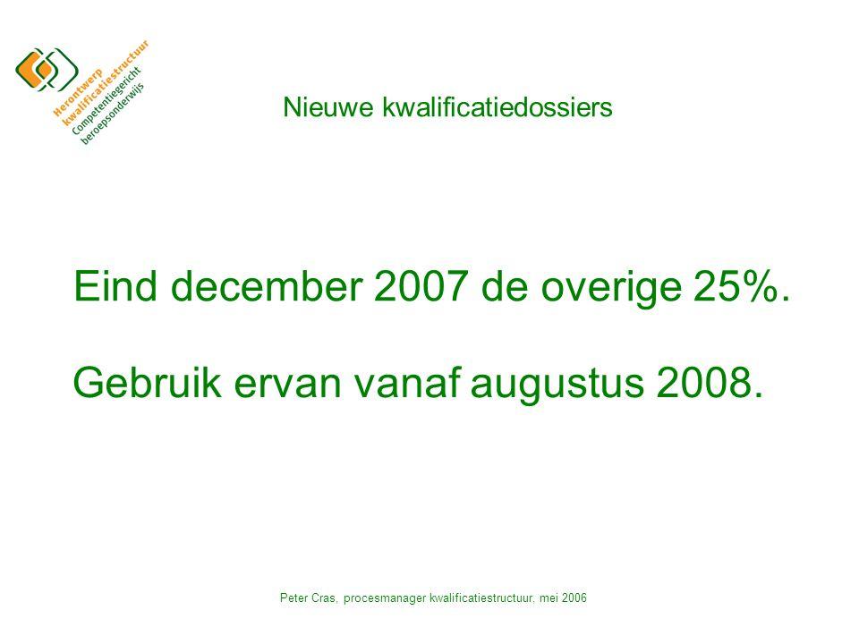 Peter Cras, procesmanager kwalificatiestructuur, mei 2006 Nieuwe kwalificatiedossiers Eind december 2007 de overige 25%.