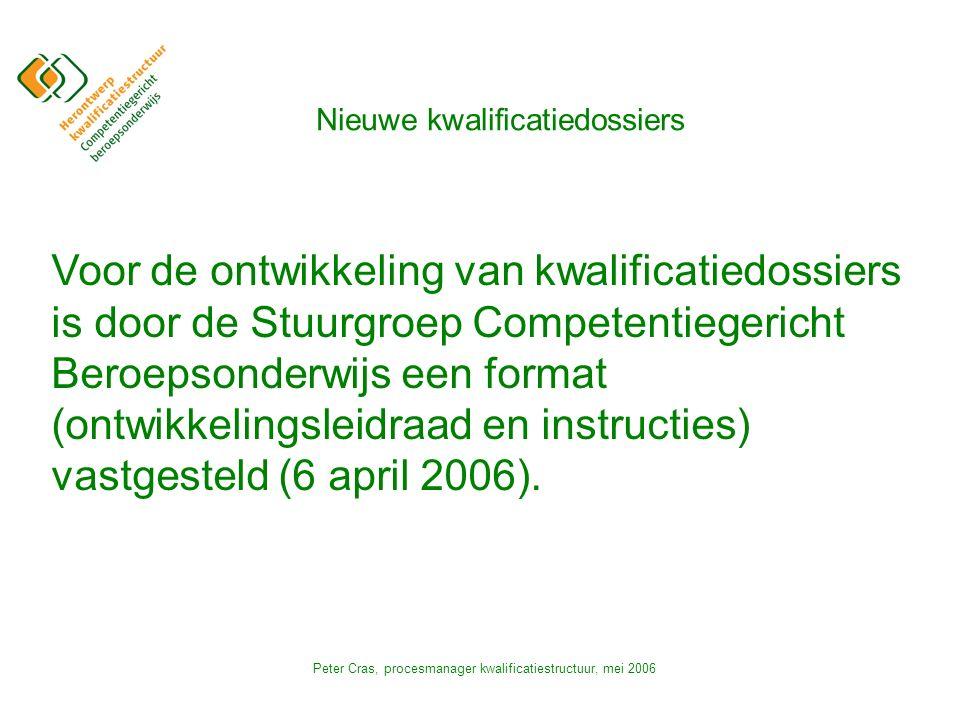 Peter Cras, procesmanager kwalificatiestructuur, mei 2006 Nieuwe kwalificatiedossiers Voor de ontwikkeling van kwalificatiedossiers is door de Stuurgroep Competentiegericht Beroepsonderwijs een format (ontwikkelingsleidraad en instructies) vastgesteld (6 april 2006).
