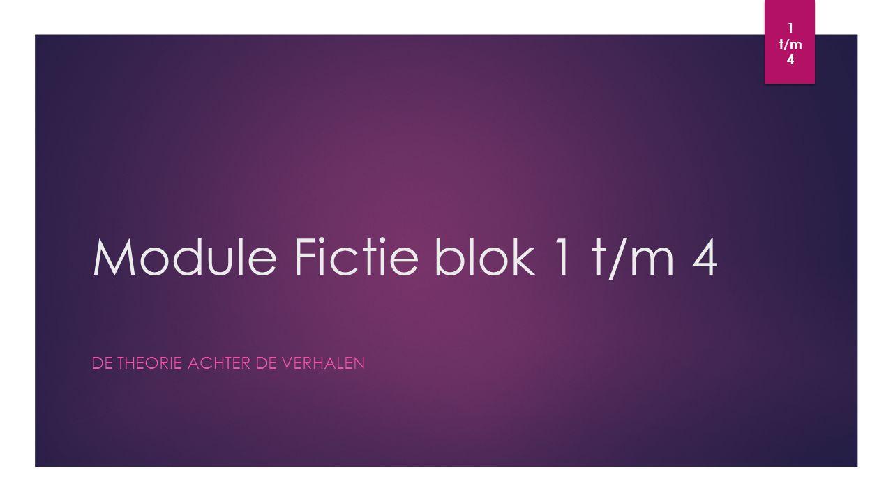 Module Fictie blok 1 t/m 4 DE THEORIE ACHTER DE VERHALEN 1 t/m 4