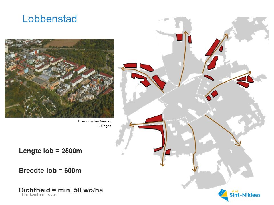 Lobbenstad Hier komt een footer Lengte lob = 2500m Breedte lob = 600m Dichtheid = min. 50 wo/ha Französisches Viertel, Tübingen