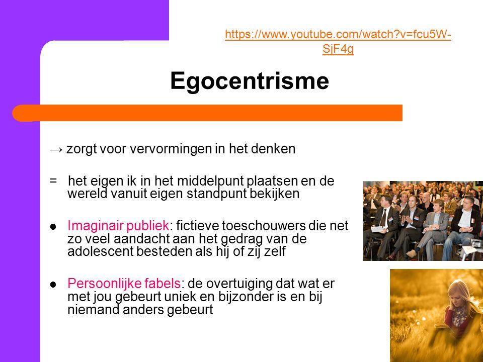 Egocentrisme → zorgt voor vervormingen in het denken = het eigen ik in het middelpunt plaatsen en de wereld vanuit eigen standpunt bekijken Imaginair