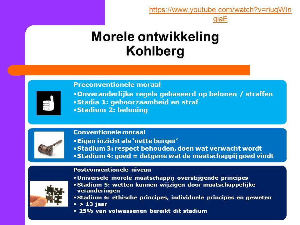 Morele ontwikkeling Kohlberg Preconventionele moraal Onveranderlijke regels gebaseerd op belonen / straffen Stadia 1: gehoorzaamheid en straf Stadium