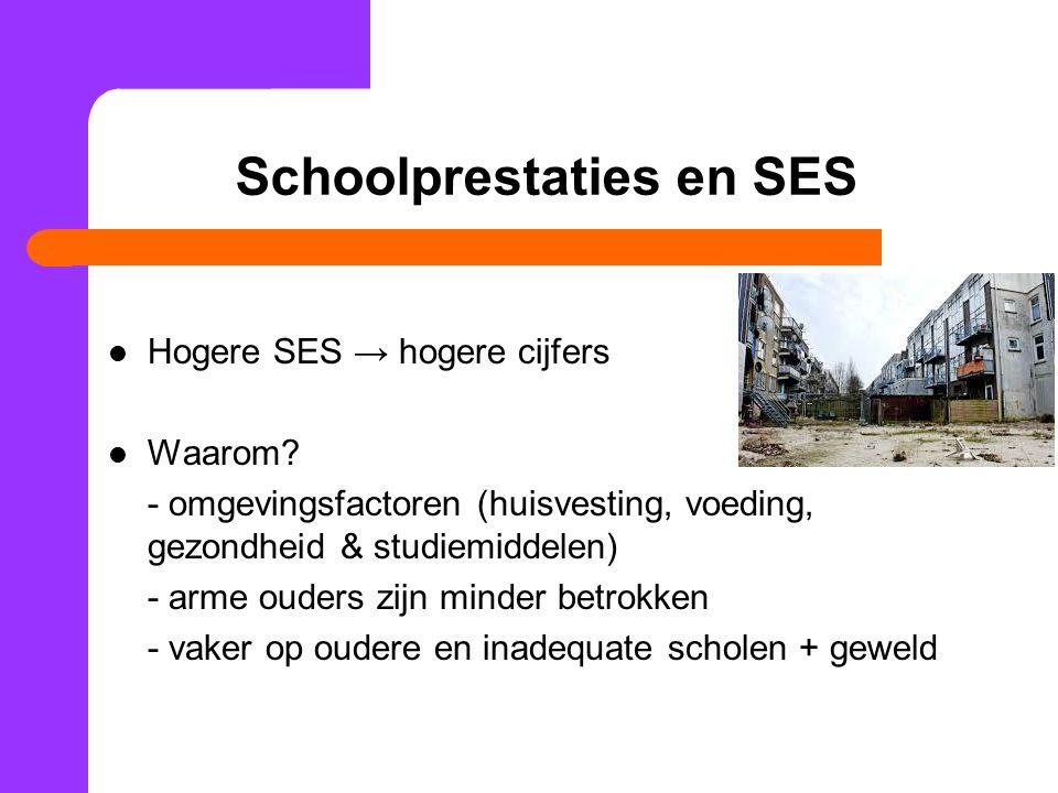 Schoolprestaties en SES Hogere SES → hogere cijfers Waarom? - omgevingsfactoren (huisvesting, voeding, gezondheid & studiemiddelen) - arme ouders zijn