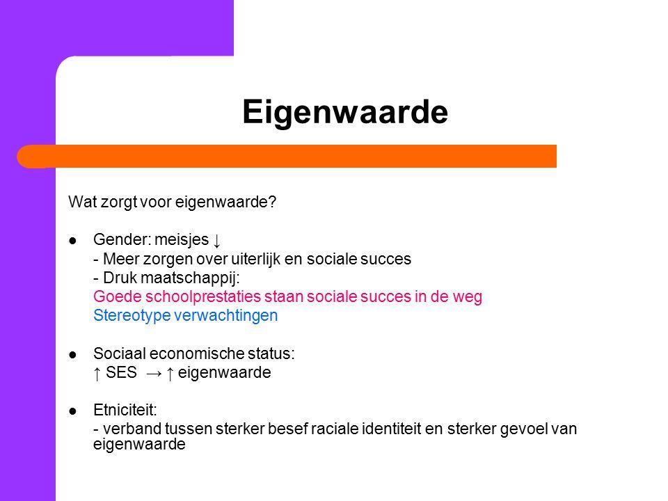 Eigenwaarde Wat zorgt voor eigenwaarde? Gender: meisjes ↓ - Meer zorgen over uiterlijk en sociale succes - Druk maatschappij: Goede schoolprestaties s