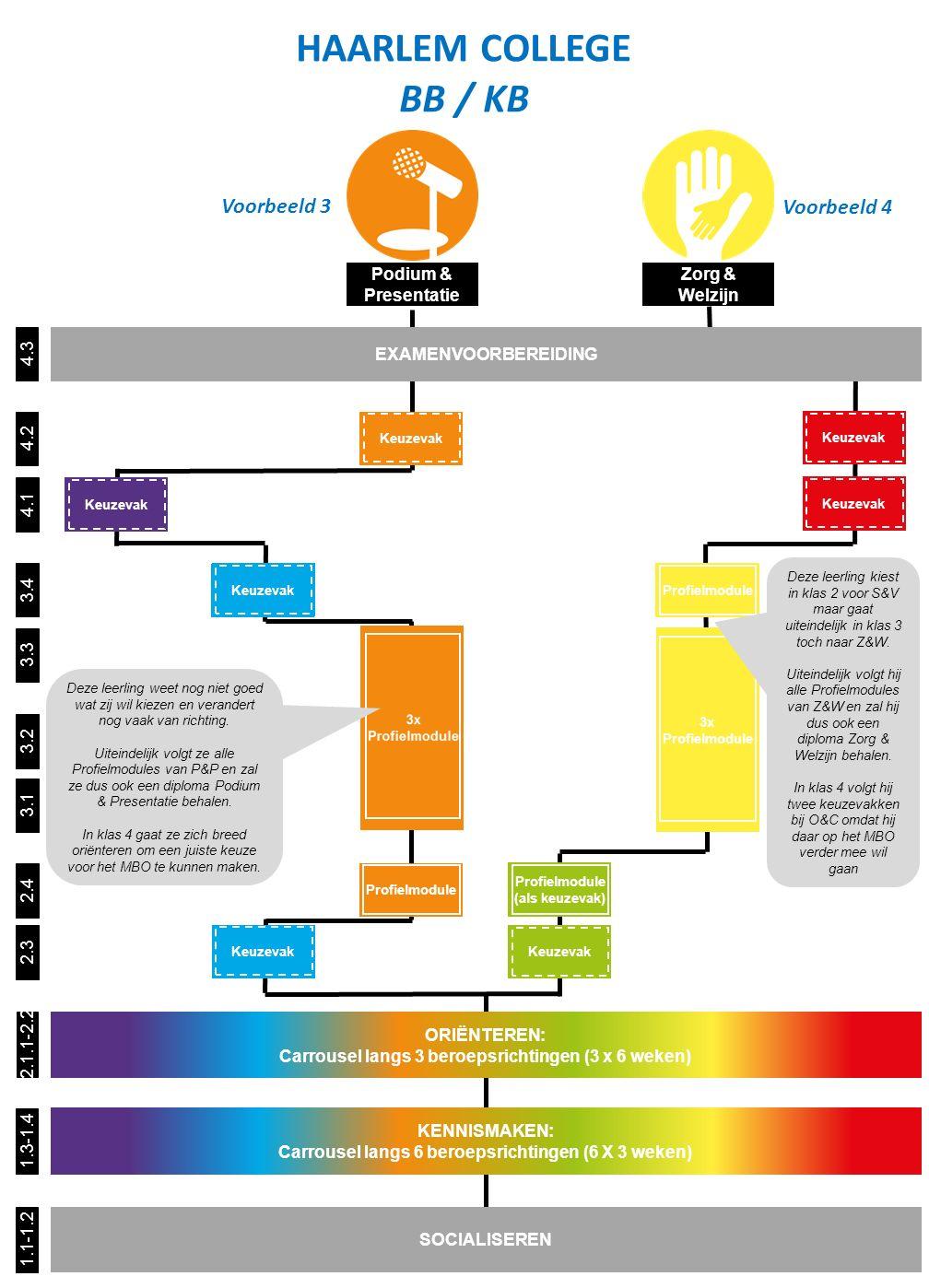 Keuzevak of Profielmodule Zorg & Welzijn Podium & Presentatie 4.3 4.2 3.4 3.3 3.2 3.1 4.1 1.1-1.2 SOCIALISEREN 2.4 HAARLEM COLLEGE BB / KB 1.3-1.4 2.1