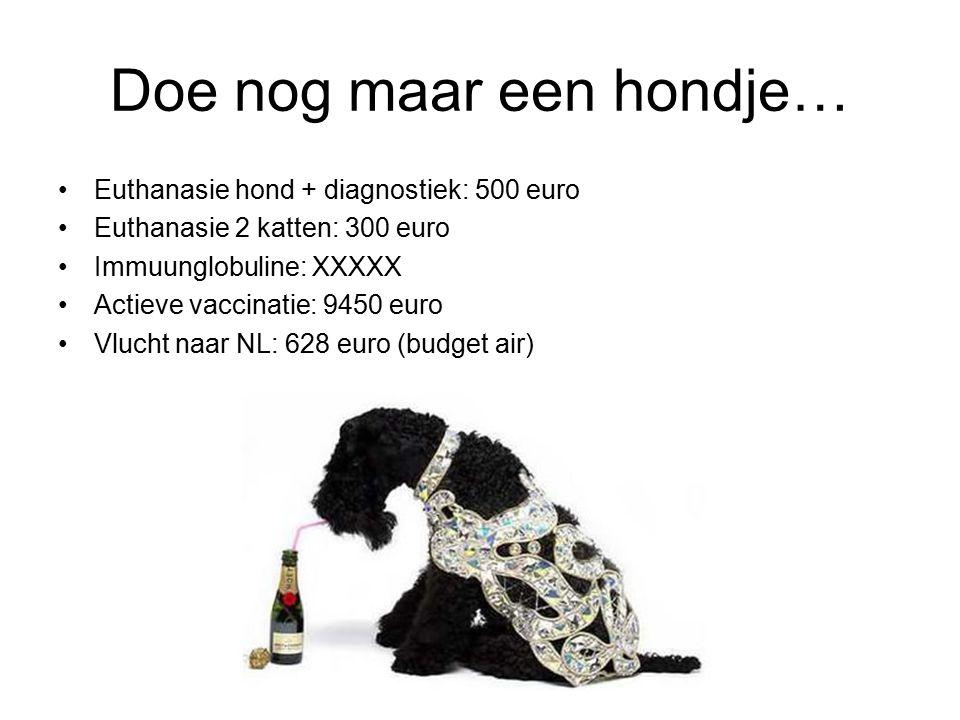 Doe nog maar een hondje… Euthanasie hond + diagnostiek: 500 euro Euthanasie 2 katten: 300 euro Immuunglobuline: XXXXX Actieve vaccinatie: 9450 euro Vlucht naar NL: 628 euro (budget air)