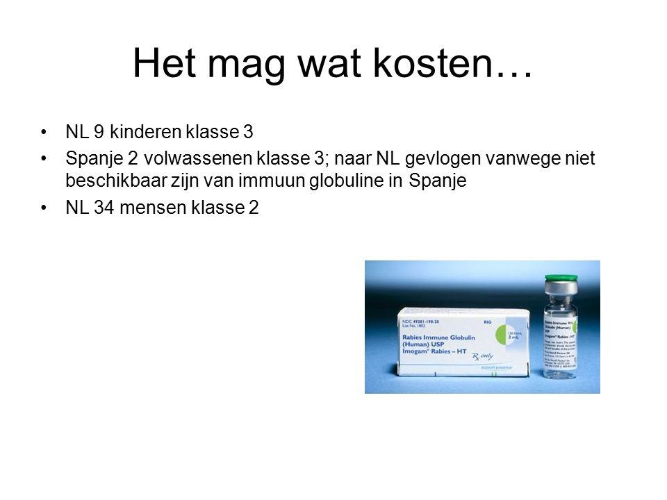 Het mag wat kosten… NL 9 kinderen klasse 3 Spanje 2 volwassenen klasse 3; naar NL gevlogen vanwege niet beschikbaar zijn van immuun globuline in Spanje NL 34 mensen klasse 2