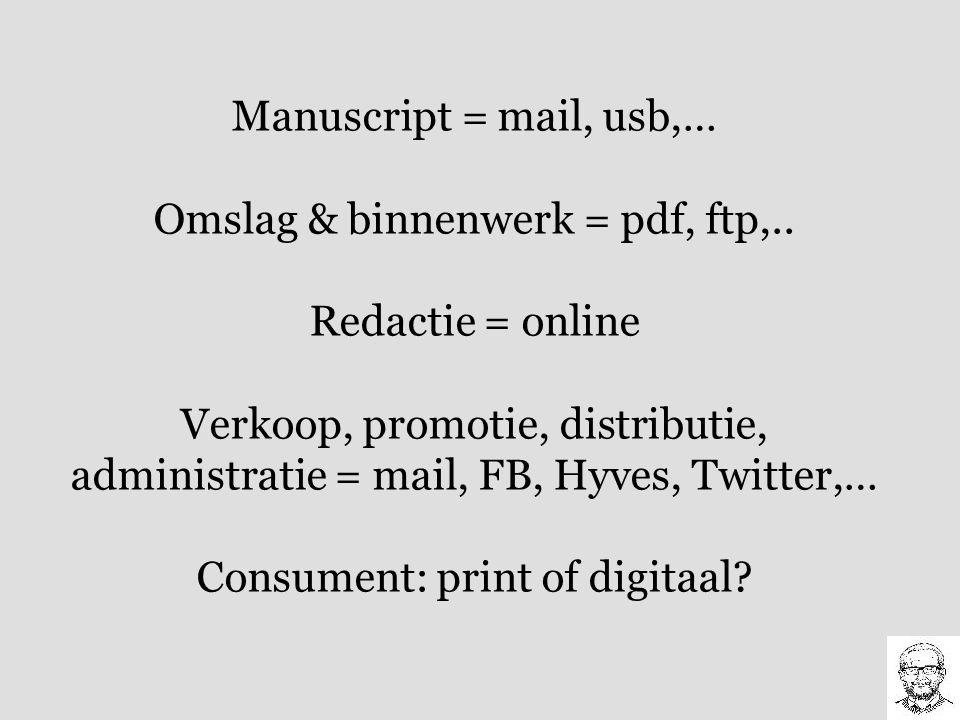 Manuscript = mail, usb,… Omslag & binnenwerk = pdf, ftp,.. Redactie = online Verkoop, promotie, distributie, administratie = mail, FB, Hyves, Twitter,
