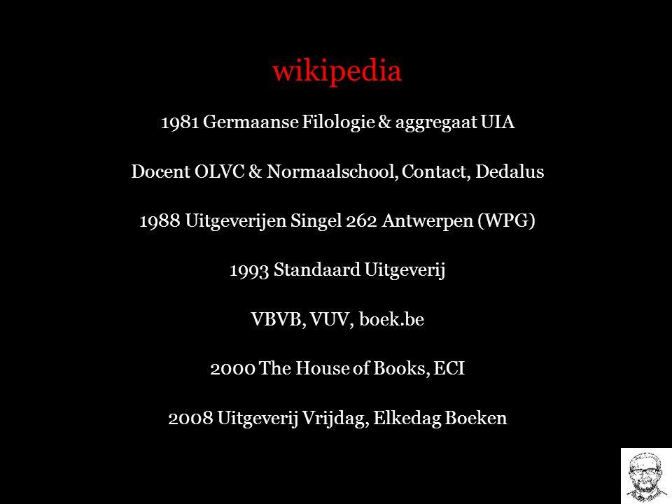wikipedia 1981 Germaanse Filologie & aggregaat UIA Docent OLVC & Normaalschool, Contact, Dedalus 1988 Uitgeverijen Singel 262 Antwerpen (WPG) 1993 Sta