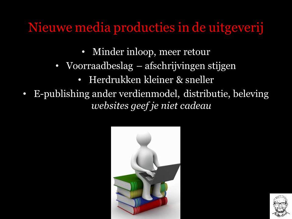 Nieuwe media producties in de uitgeverij Minder inloop, meer retour Voorraadbeslag – afschrijvingen stijgen Herdrukken kleiner & sneller E-publishing