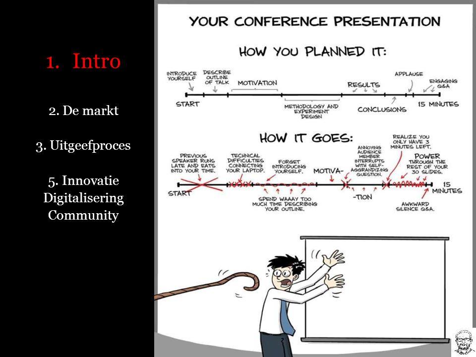 1.Intro 2. De markt 3. Uitgeefproces 5. Innovatie Digitalisering Community