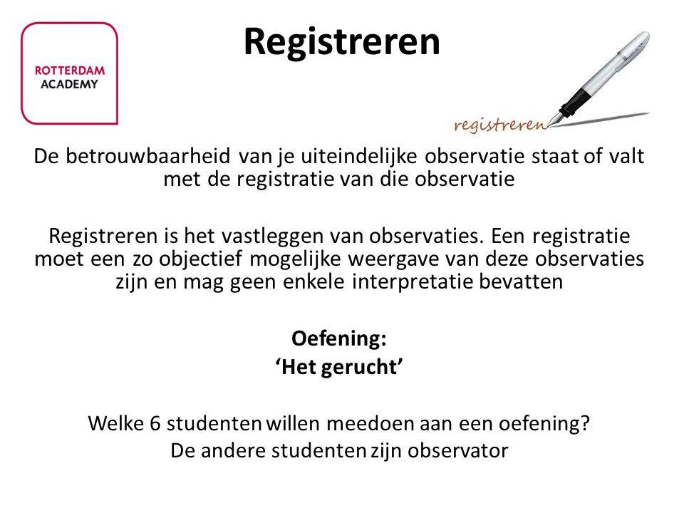 De betrouwbaarheid van je uiteindelijke observatie staat of valt met de registratie van die observatie Registreren is het vastleggen van observaties.