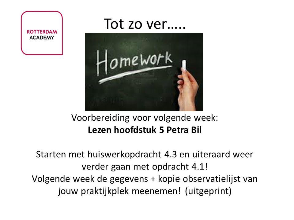 Tot zo ver….. Voorbereiding voor volgende week: Lezen hoofdstuk 5 Petra Bil Starten met huiswerkopdracht 4.3 en uiteraard weer verder gaan met opdrach