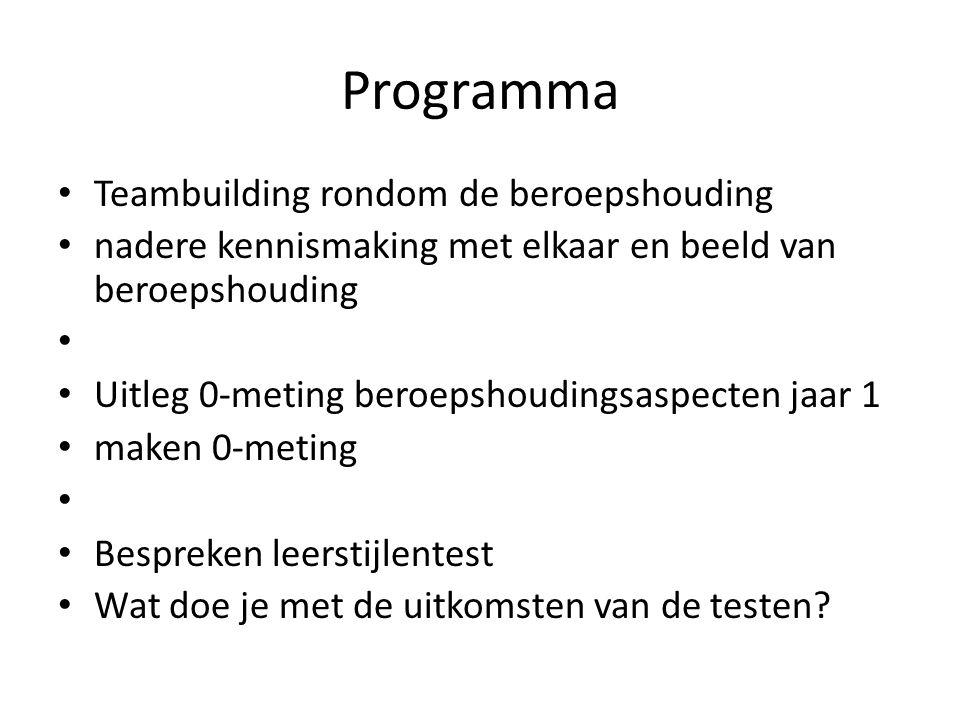 Programma Teambuilding rondom de beroepshouding nadere kennismaking met elkaar en beeld van beroepshouding Uitleg 0-meting beroepshoudingsaspecten jaa